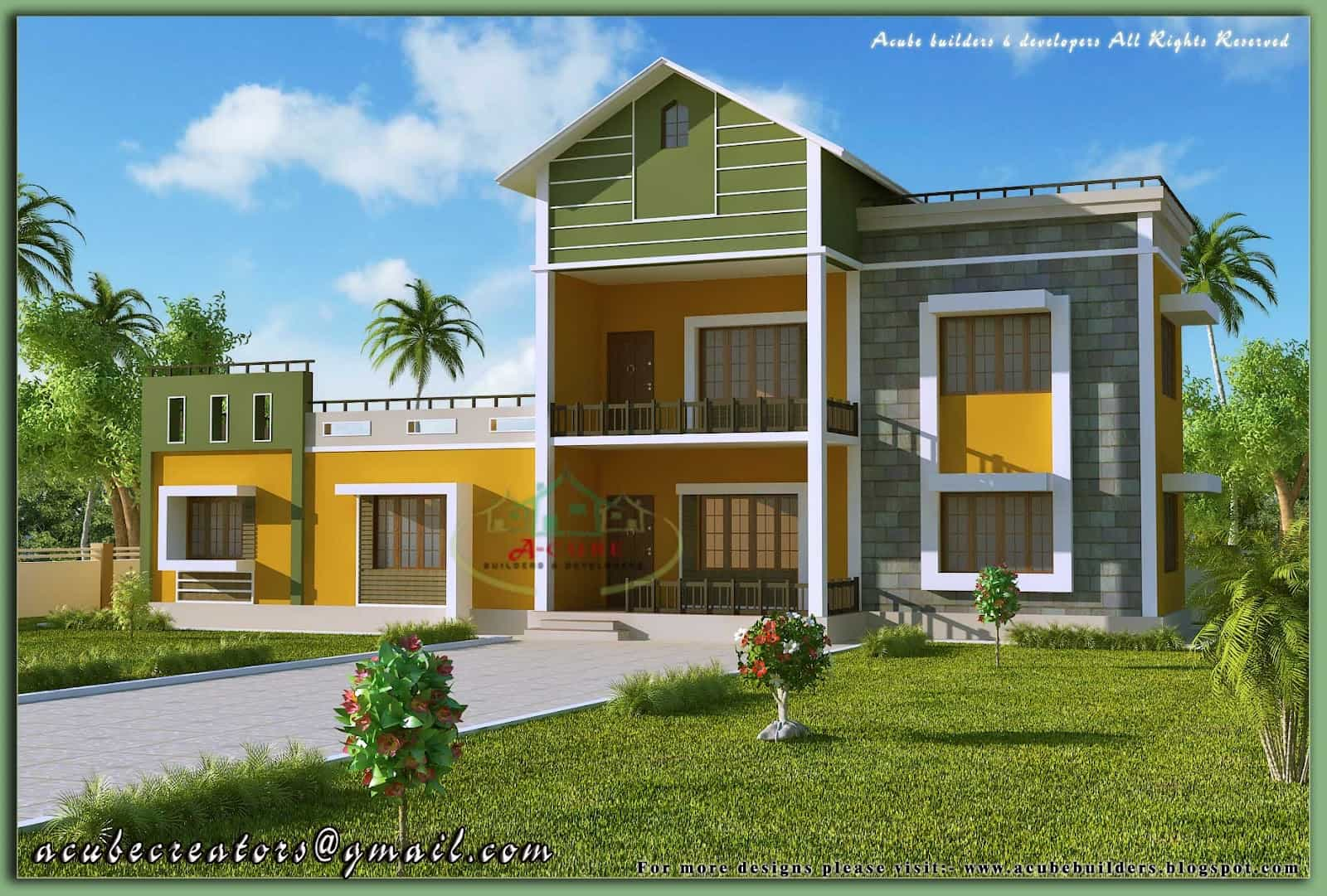 Kerala house model-Sloping roof house elevation at 1700 sq.ft