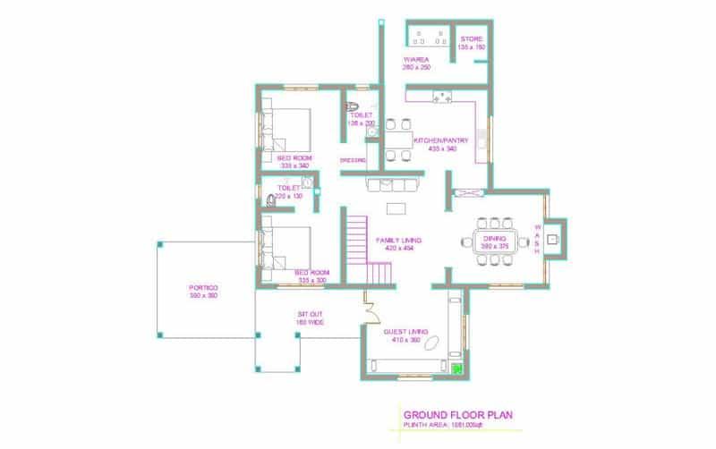 kerala home plan Latest Kerala house plan at 2800 sq.ft