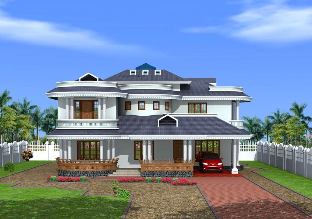 Bungalow Design in Kerala style at 3350 sq.ft